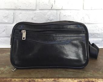 Vintage Black Leather Fanny Pack