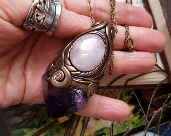 Libra Moon - Amethyst & Rose Quartz Crystal Energy Pendant - Intuition through the Heart, Feminine Wisdom
