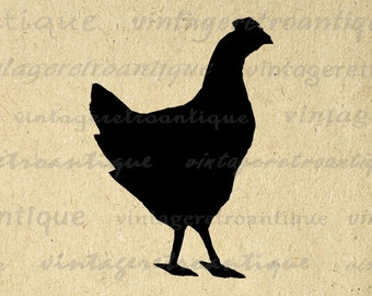 Digital Chicken Silhouette Printable Image Farm Animal Download Chicken Graphic for Transfers Pillows Tea Towels etc Print 300dpi No.4681