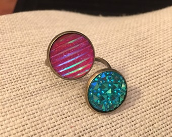 16mm Blue&Pink Double Bezel Bronze Adjustable Ring