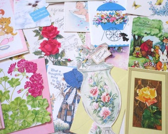 Vintage 1940's-1950's Greeting Cards Lot of 21 UNUSED with Envelopes Retro Cards Birthday Easter Baby Get Well Sympathy Unused Vintage Card