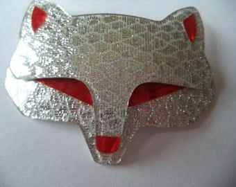 Vintage Signed Lea Stein Sparkling Silver Goupil Fox Brooch/Pin