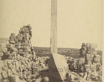 Karnak Egypt Hall of Kings obelisk antique albumen photo