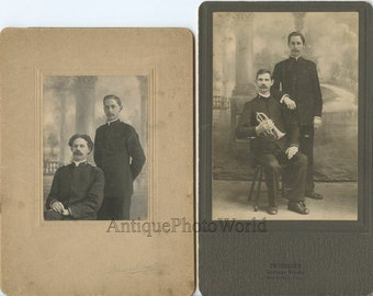 Two Salvation Army officers musicians with trumpet 2 antique photos