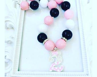 Pink Rhinestone Birthday Chunky Necklace, #2 Birthday Pink Necklace Pendant, Turning 2 birthday Custom Birthday Chunky Necklace,