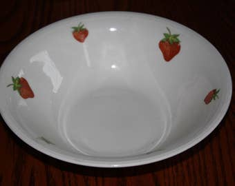Edwin M. Knowles China Co. USA -Mid Century- Serving Bowl with Stawberries