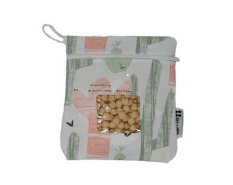 Cactus Reusable Snack Bag or Carrying Pouch- BPA Free and Dishwasher Safe- Ready to Ship