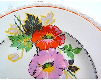 RARE - Set of 6 MYOTT Staffordshire dessert plates - POPPY pattern