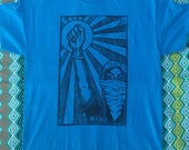 SIZE XL - Raised Fist, La Mano Loteria Print, Unisex Blue Shirt, Ready-to-Ship