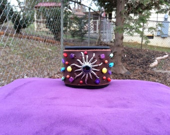 Women's Brown and Black Wide Leather Beaded Cuff