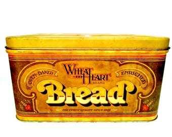 Large Bread Box, Pentron Metal Bread Box, Large Hinged Bread Box, Wheat Heart Brand Bread Box, Farmhouse Country Kitchen Decor