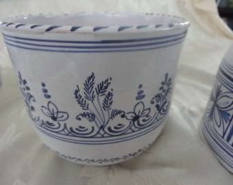 Vintage blue and white flower pot hand painted made in Spain - beautiful and folksy