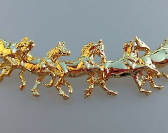Running Horses necklace equestrian jewelry gold plated collection