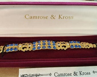 Jackie Kennedy Sapphire Bracelet - Gold Plated, Simulated Gemstones, Box and Certificate - Sz 7 or 8