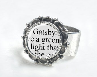 Great Gatsby Ring – Great Gatsby Jewelry – The Great Gatsby Book Jewelry – Book Lover Jewelry - Literary Jewelry - Book Lover Gifts