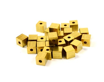 20 Pcs. Solid Brass 6x6 mm Square Bead Findings