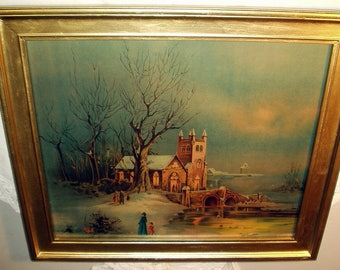 Old Church Scene Evening Services Winter Snow Original 1900s Antique James Lee Chromolithograph Beautiful Antique Wood Frame Wall Hanging