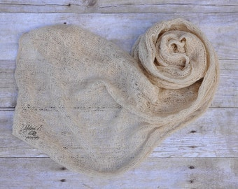Newborn Stretch Lace knit wrap super soft and stretchy- Beige / Photo prop. / photography prop