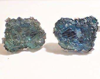Large Labradorite Nugget Art Glass Cufflinks