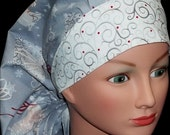 Stunning and Unique Silver Bells and Reindeer Winter Christmas Medical Surgical Bouffant or Pony Tail Scrub Hat Cap