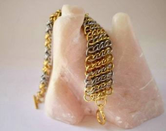 Chainmail cuff GSG chainmail bracelet, classic gold and silver chain mail jewelry, bright handmade chainmaille bracelet made by misome