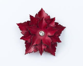 Leather Flower Brooch in Red, Turquoise or Purple