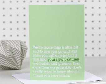 Your New Pastures - Goodbye / Leaving Card