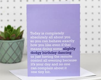 Slightly Dodgy Dancing Birthday Card