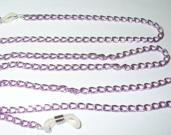Metal necklace, bracelet lilac 72 cm (136)