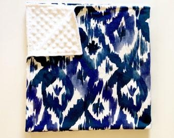 Indigo Ikat minky baby blanket - navy blue cobalt white diamond - tribal ink watercolor faux fur - gender neutral nursery - baby shower gift
