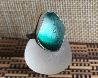 Handmade Sterling silver and sea glass ring - size UK L US 6