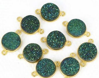 4th July 30% OFF Natural Green Druzy, Bezel Round Shape Connector, 12mm Round 24K Gold Plated, Double Bail 1pc (ZG-11156)