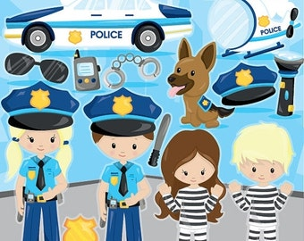 80% OFF SALE Police clipart commercial use, police officer vector graphics, police kids digital clip art, digital images - CL964