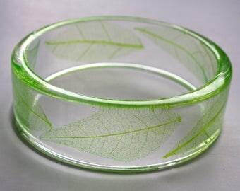 Leaf skeleton bracelet, green leaf bracelet, transparent bracelet, botanical bracelet, resin and leaf bracelet, made in Canada