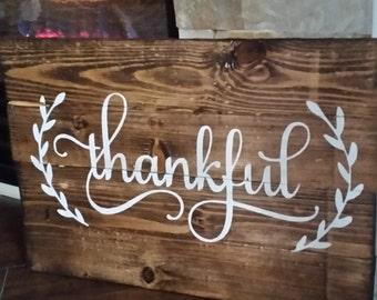 Thankful Wood Sign