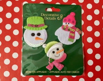 Snowmen Iron On Patches, Snowman Appliques, Snowman Patches Iron on