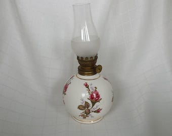 Moss Rose Miniature Oil Lamp