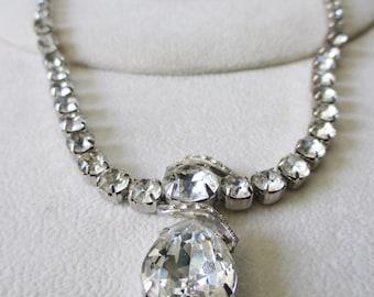 Vintage 1950's  Eisenberg Teardrop Swarovski Crystal Drop Necklace some Hollywood Glitz and Glamor  - Awesome find - Estate find!