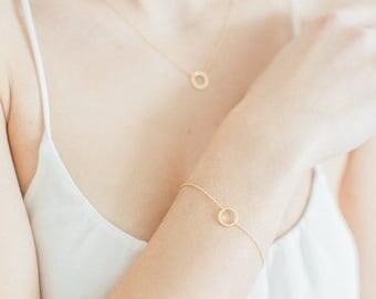 Gold Karma Bracelet, Karma Bracelet, Circle Bracelet, Geometric Bracelet