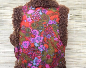 Reserved!!! Do not Purchase Vintage Leather and Fur Funky Colorful and Psychedelic Hippie Vest.