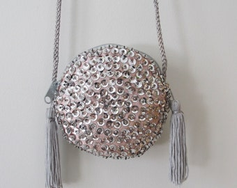 Silver Sequined Evening Bag, Vintage, NOS, New Old Stock