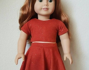 Sparkly Rust Crop Top and Skirt for 18 inch dolls by The Glam Doll