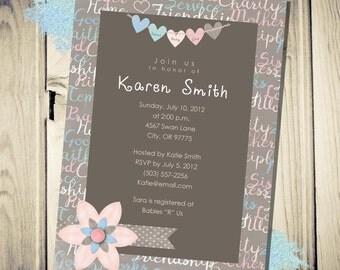 Printable Baby Shower Invitation Pretty in Pink Sisterhood