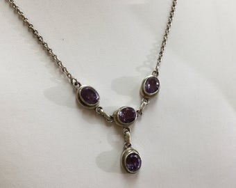 Vintage Sterling Silver Necklace with Purple Gemstones, And Adjustable Chain!!!