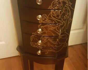jewelry armoire , standing jewelry box, jewelry organizer, jewelry cabinet, jewelry storage, jewelry holder,  chest, Beauty and the Beast