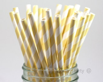 IVORY Cream Striped Spiraled Paper Straws with FREE Printable DIY Flags (25 count)