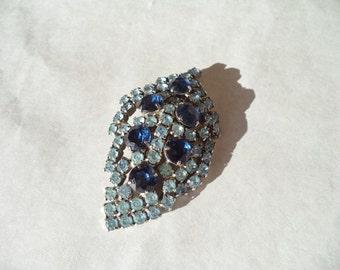 Vintage 2-Tone Blue Rhinestone Leaf Brooch