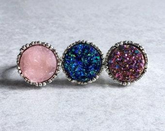 Multi-Color Druzy Rings - Cobalt Blue, Rose Gold, Hot Pink, 18mm Druzy Cabochons, Silver Bezels, Adjustable Bands, Goth, Glitter, Sparkly
