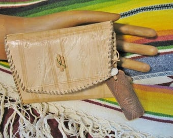 Vintage Southwest Hippie Hand Laced Leather Tri Fold Wallet with Cactus Button