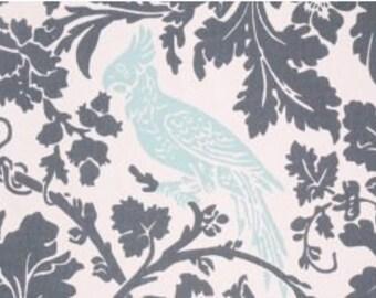 Pick Your Yardage Barber in Dark Grey/ Powder Blue Birds, 100% Cotton Fabric